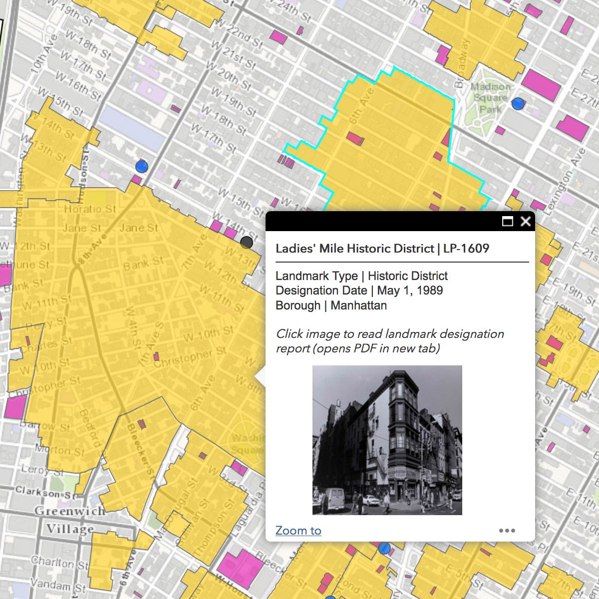 interactive map of new york city by the landmarks preservation commission
