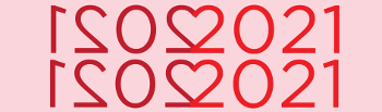 Love Data Week 2021 Logo featuring the year 2021 mirrored so that the 2s form a heart, with red lettering on a pink background